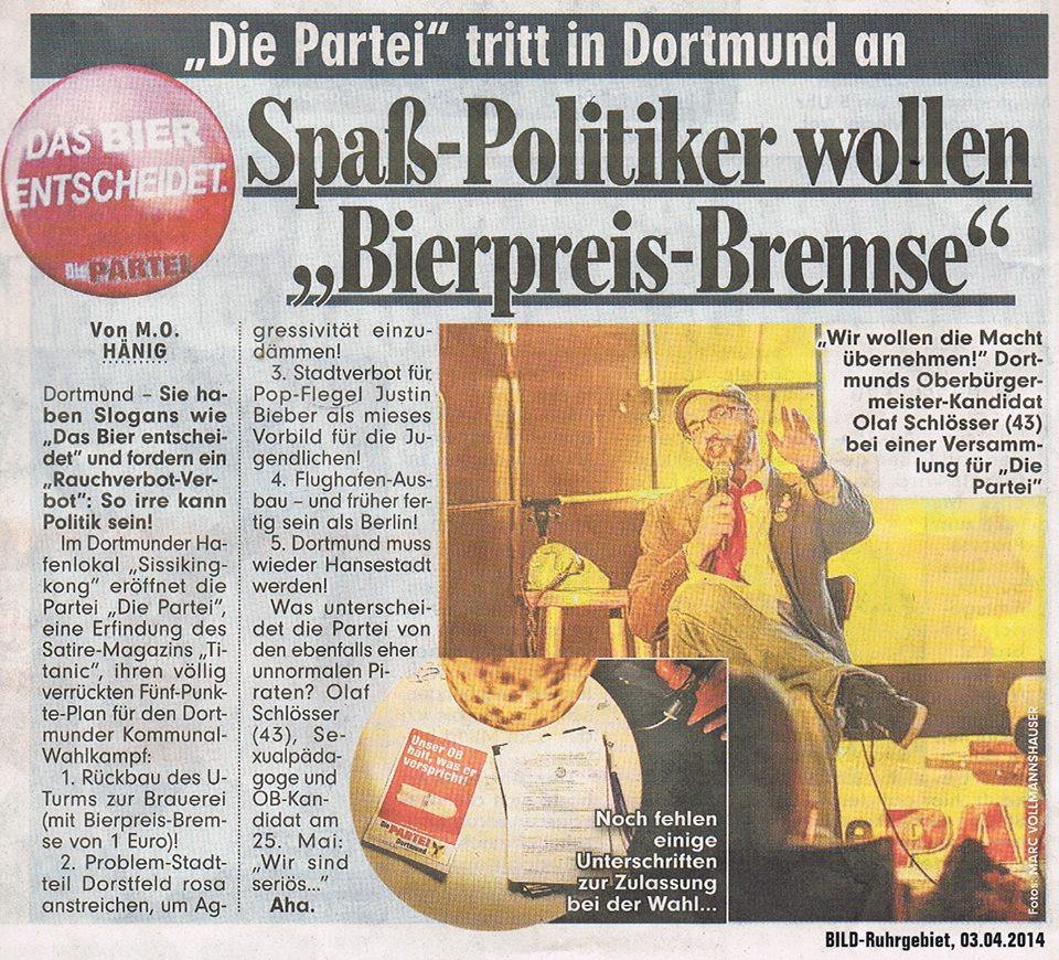Die PARTEI Dortmund in der BILD-Zeitung