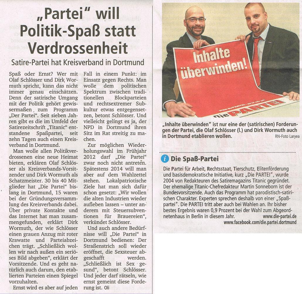 Die PARTEI Dortmund in den Ruhrnachrichten