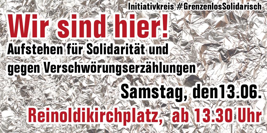 Wir sind hier! – Aufstehen für Solidarität und gegen Verschwörungserzählungen
